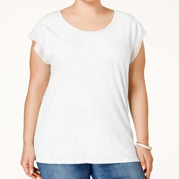 aab3aba6c99 Style Co Plus Size Woven-Sleeve Top Bright White